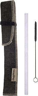 product image for Simply Straws Single Sleeve Set, 1 Classic 8-Inch Amethyst Straw, 1 Reverse Denim Sleeve and 1 Brush
