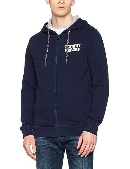 6b88a086 Tommy Jeans Men's Essential Graphic Zipthru Sweatshirt, Blue (Black Iris  002), Small