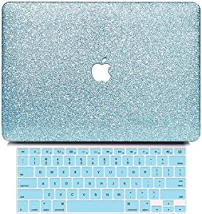 B BELK MacBook 12 Inch Case A1534 Release 2017 2016 2015, Bling Sparkly Crystal Smooth Leather Hard Case with Keyboard Cover Compatible with Mac 12 Inch Retina Display, Shining Loyal Blue
