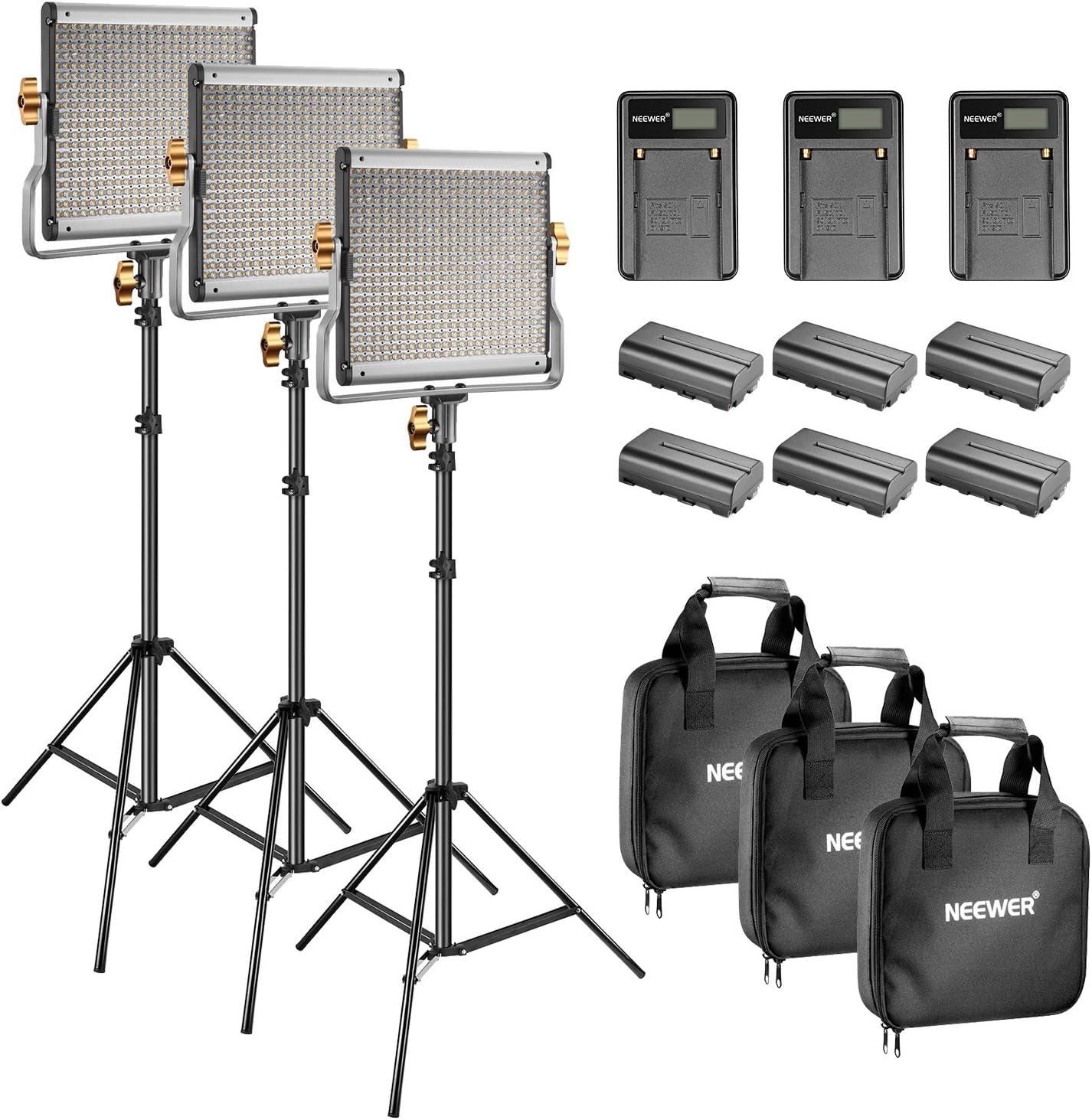 Neewer - Kit de iluminación y Soporte de vídeo LED 480 Bicolor, con batería y Cargador para Studio Youtube, Marco de Metal Duradero Regulable con Soporte en U 3200-5600K CRI 96+ (3