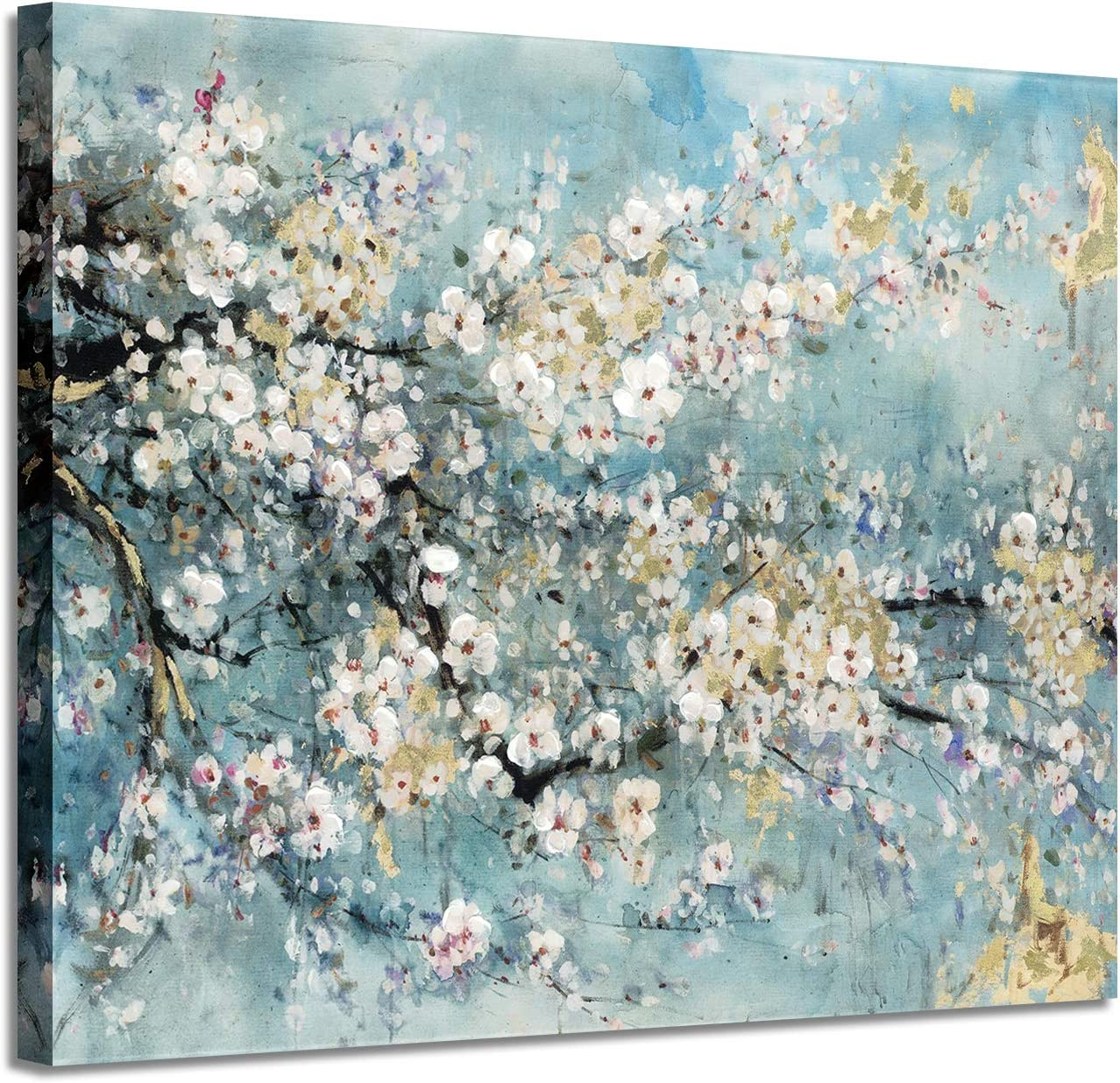 "Abstract Wall Art Flower Picture: Dogwood Bloom Painting Artwork Print on Canvas for Bedroom (24"" x 18"" x 1 Panel)"