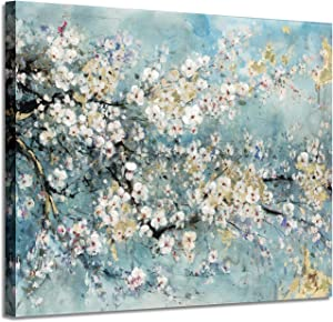 """Abstract Art Painting Flower Picture: Dogwood Bloom Graphic Art on Canvas Wall Art for Living Rooms Bedrooms(16""""x 12""""x1 Panel)"""