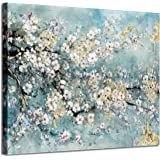 """Abstract Wall Art Flower Picture: Dogwood Bloom Painting Artwork Print on Canvas for Bedroom (24"""" W x 18"""" H,Multi-Sized)"""