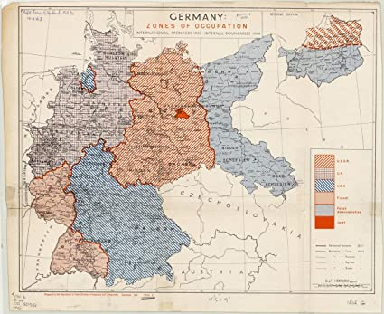 Map Of Germany Occupation Zones.Amazon Com Historic Map Germany 1945 Germany Zones Of
