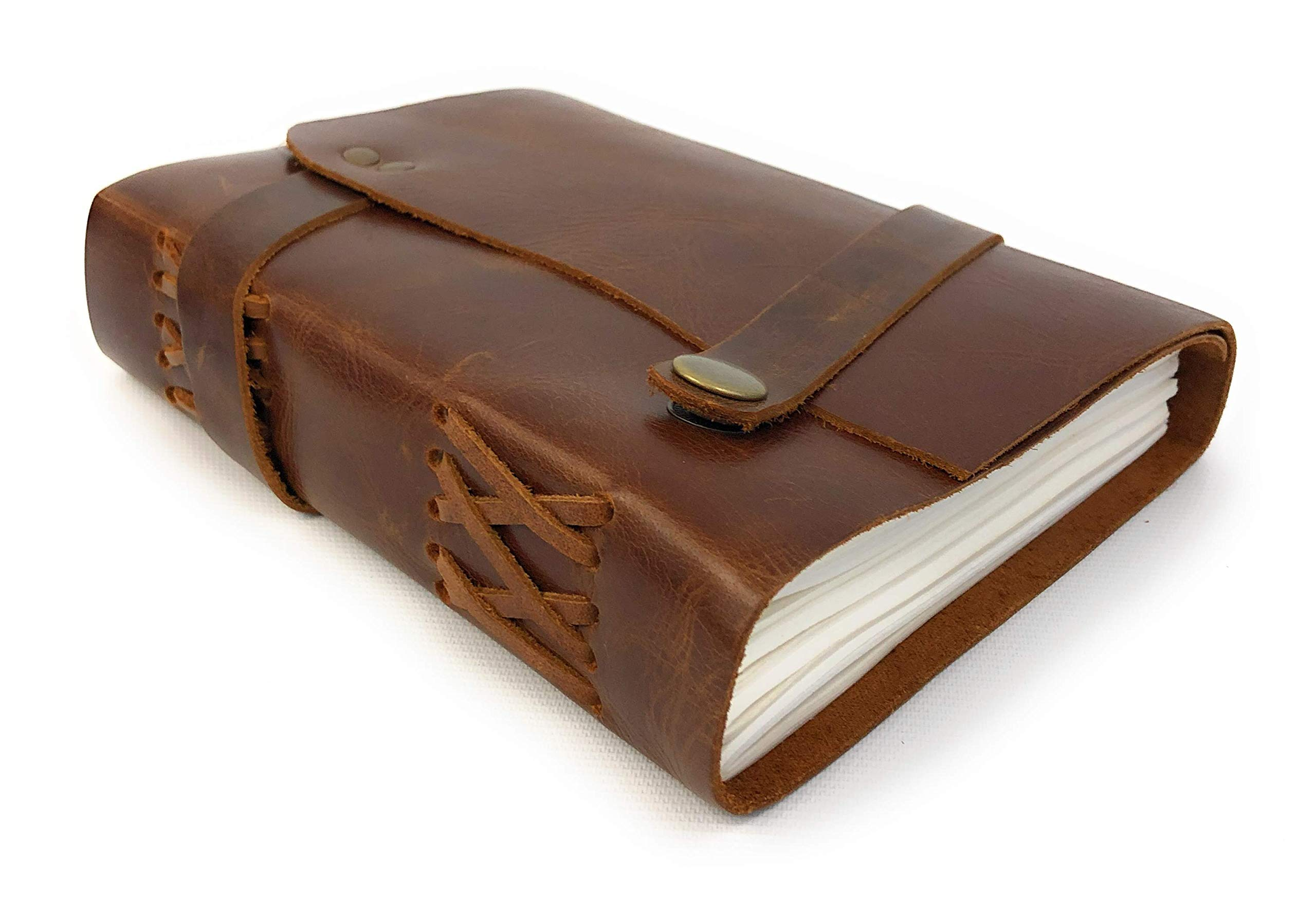 Handmade Leather Journal - Vintage Rustic Style - 240 Pages Unlined Recycled Paper Wrapped in a Distressed Cowhide Leather Cover 7'' x 5'' by Stonesman Products