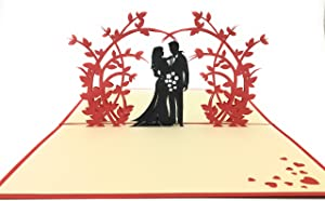 Perfect wedding & anniversary gift - Handmade 3D pop-up card with romantic couple under an arch of beautiful flowers. Ideal complement to flowers for delivery Valentines Day Gift I LOVE YOU