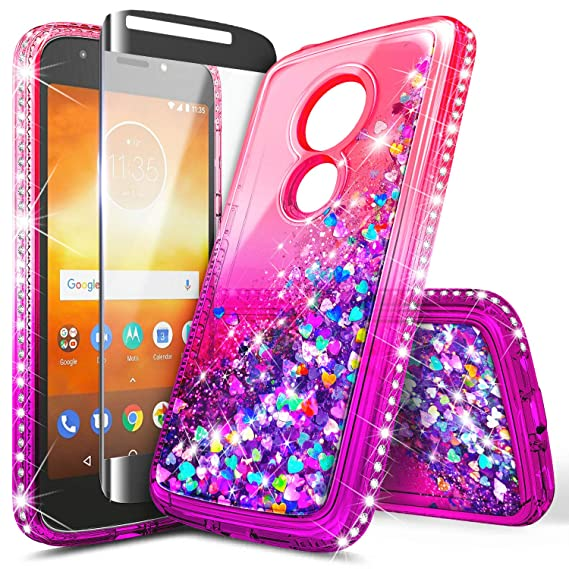 buy popular 1a8e4 d2bd8 Moto E5 Plus Case, Moto E5 Supra/Motorola Moto E Plus 5th Gen Case w/[Full  Cover Tempered Glass Screen Protector] NageBee Glitter Liquid Quicksand ...