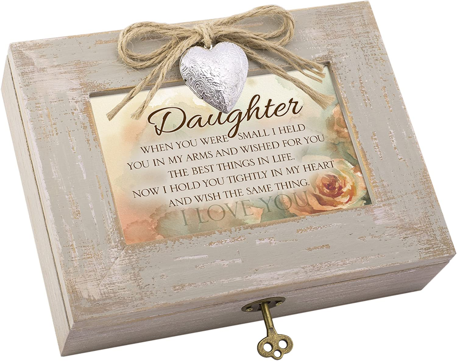 Cottage Garden Daughter Best Things in Life Taupe Wood Locket Music Box Plays You are My Sunshine