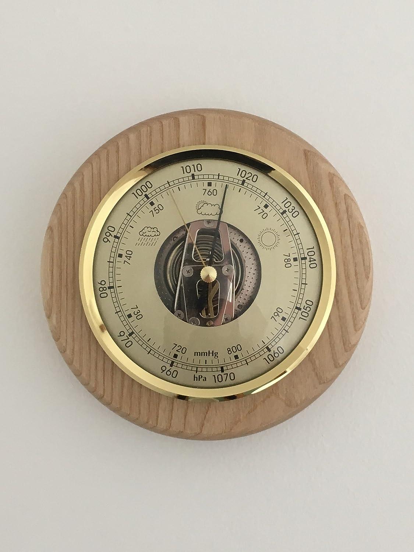 Sunartis Barometer Solid Oak Round Mount Weather Instrument Width 150mm x Depth 45mm