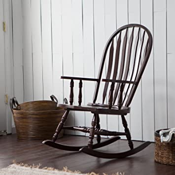 Beau Belham Living Windsor Indoor Wood Rocking Chair, Durable And Strong,  Espresso Finished