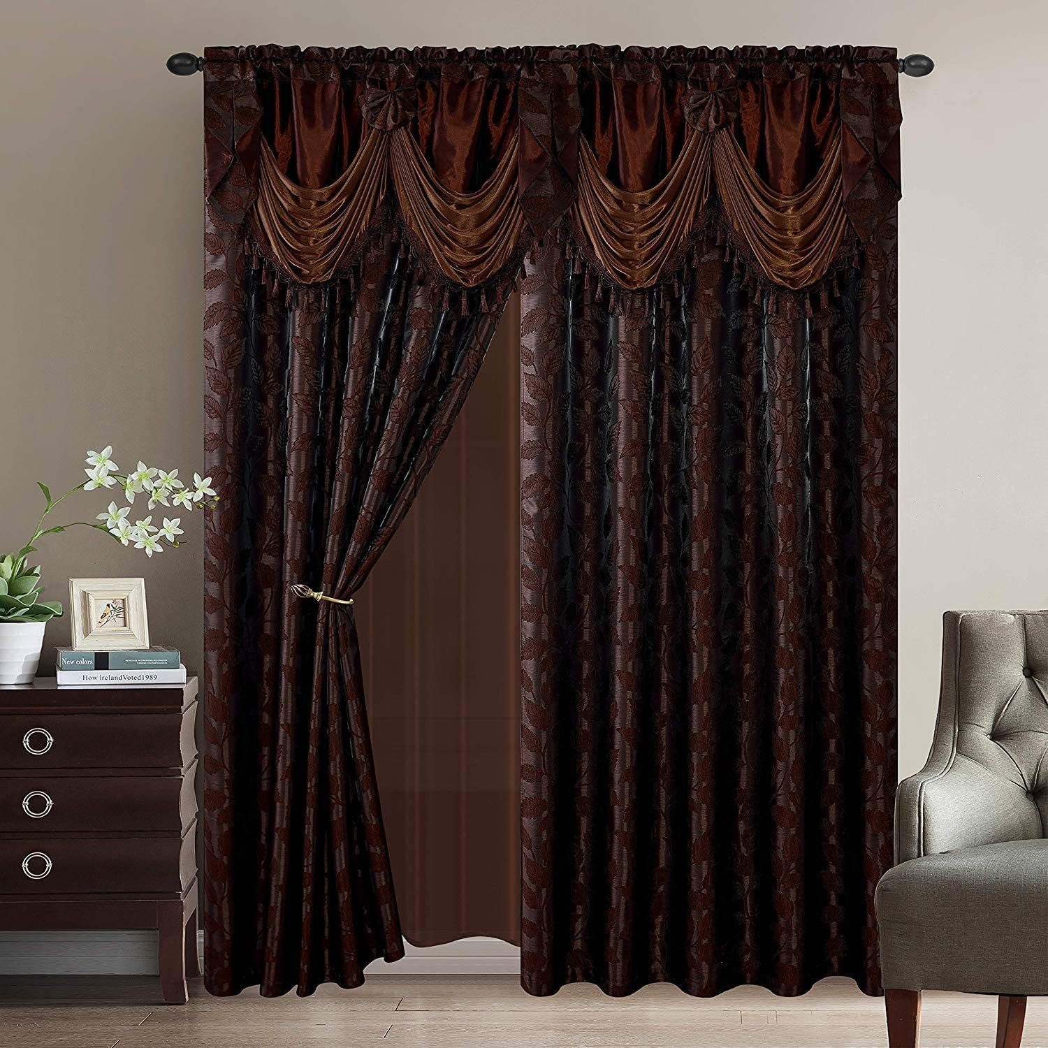 Luxury Home Collection Jacquard Leaves Window 2 Panel Curtain Set with Attached Valances and Backing with 2 Tassel Tie Backs -Window Curtains for Bedroom, Living Room, or Dining (Brown, 55