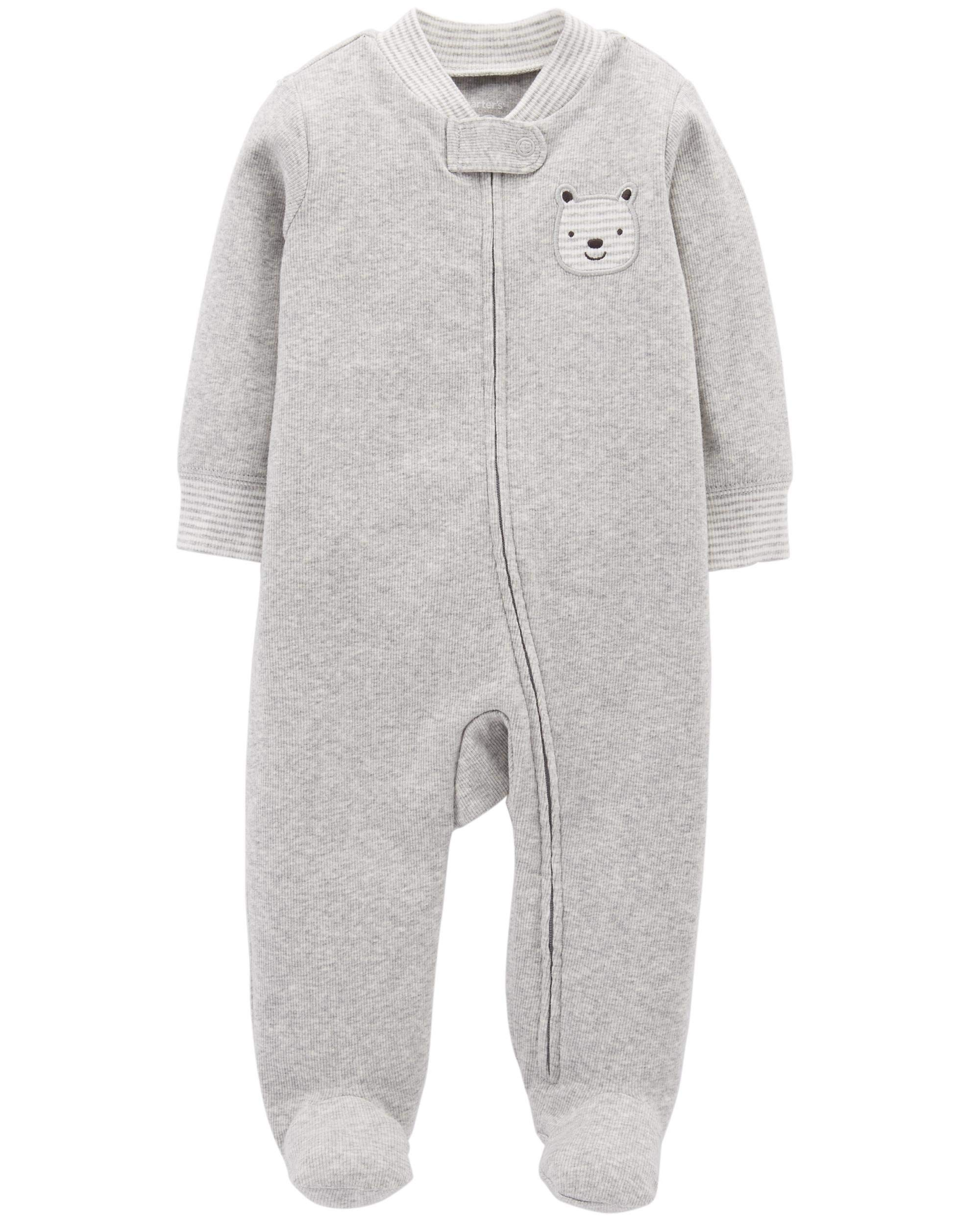 Carter's Baby Boys Cotton Footed Sleep N Play (Newborn, Gray Heather)