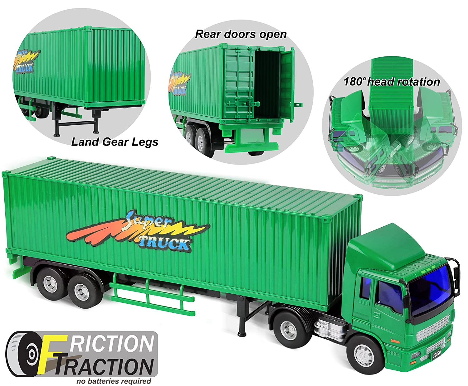 Click N Play Friction Powered Tractor Trailer Truck Toy Vehicle for Kids