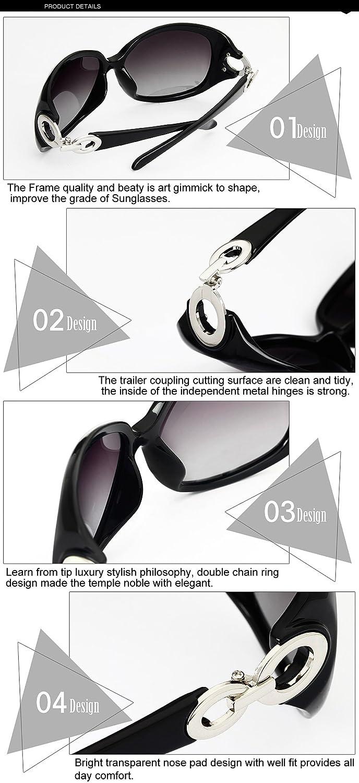 79ddda43fb5 DUCO Shades Classic Oversized Polarized Sunglasses for Women 100% UV  Protection 1220 Black Frame Gray lens at Amazon Women s Clothing store