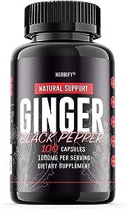 Ginger Pills 1000mg, Ginger Capsules (Zingiber officinale), Organic Ginger Root & Black Pepper Herbal Supplement, 100 Capsules (100)