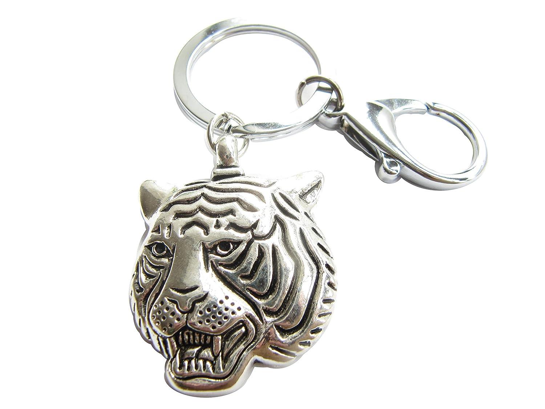 Tiger Headキーチェーン、タイガーヘッドチャーム、動物キーチェーン、Personalizedキーチェーンスイベル留め金 B017YTJ2T4