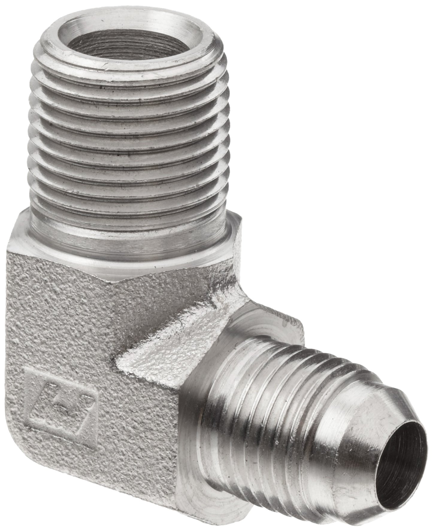 Brennan 2501-06-08-SS, Stainless Steel JIC Tube Fitting, 06MJ-08MP 90 Degree Elbow, 3/8'' Tube OD x 1/2''-14 NPTF Male