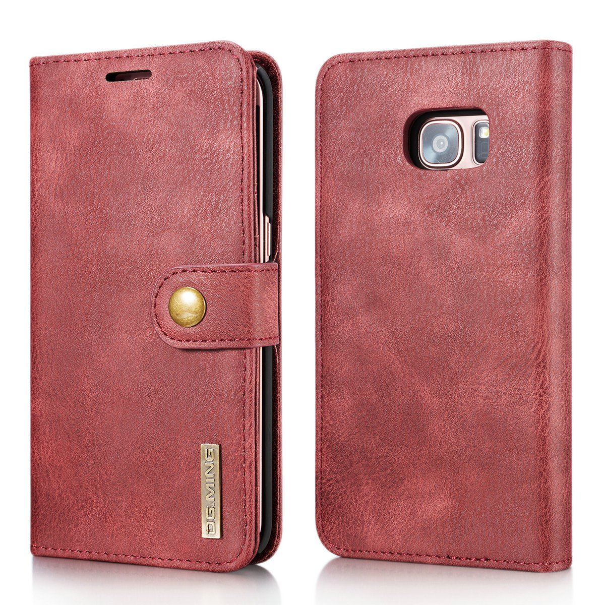 Galaxy S7 Edge Case, DG.MING Retro Cowhide Leather Magnetic Detachable 2 in 1 Wallet Cover Case for Samsung Galaxy S7 Edge (Gray) eReach