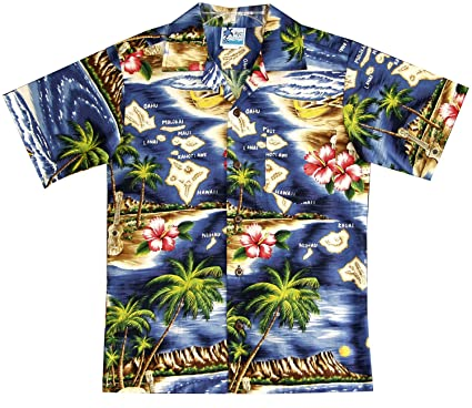 285ec773 Amazon.com: RJC Boy's Hibiscus Hawaiian Island Shirt in Navy Blue ...