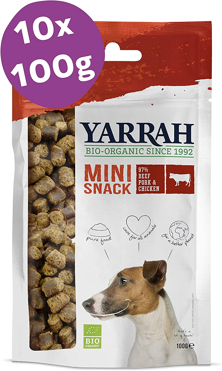 Yarrah Mini Snacks Orgánicos para Perros - 10 x 100 gr - Ideal ...