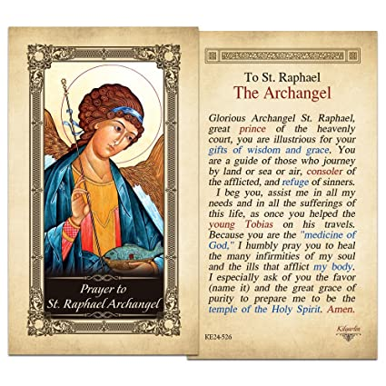 Amazon com : St  Raphael Archangel Laminated Holy Card : Office Products