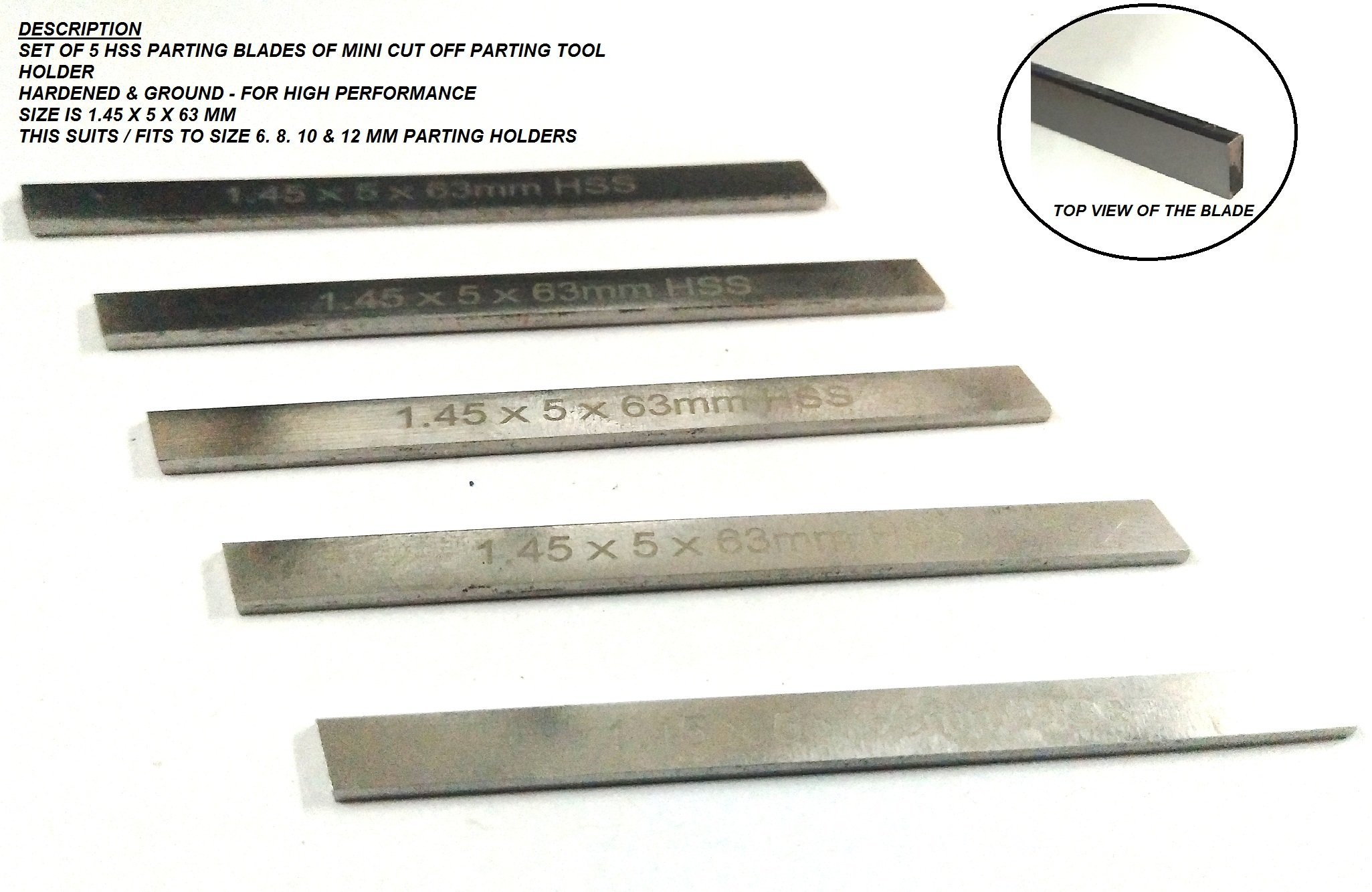 Set of 5 HSS Spare Parting Blades for Mini Cut Off Tool Holders 6,8, 10 mm Shank Sizes