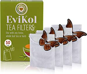 EviKol Brown Butterfly Tags Tea Filters, Empty Filter Tea Bags, Disposable Teabags for Herbs Loose Tea 3.54 x 2.75 inch (7 x 9 cm)