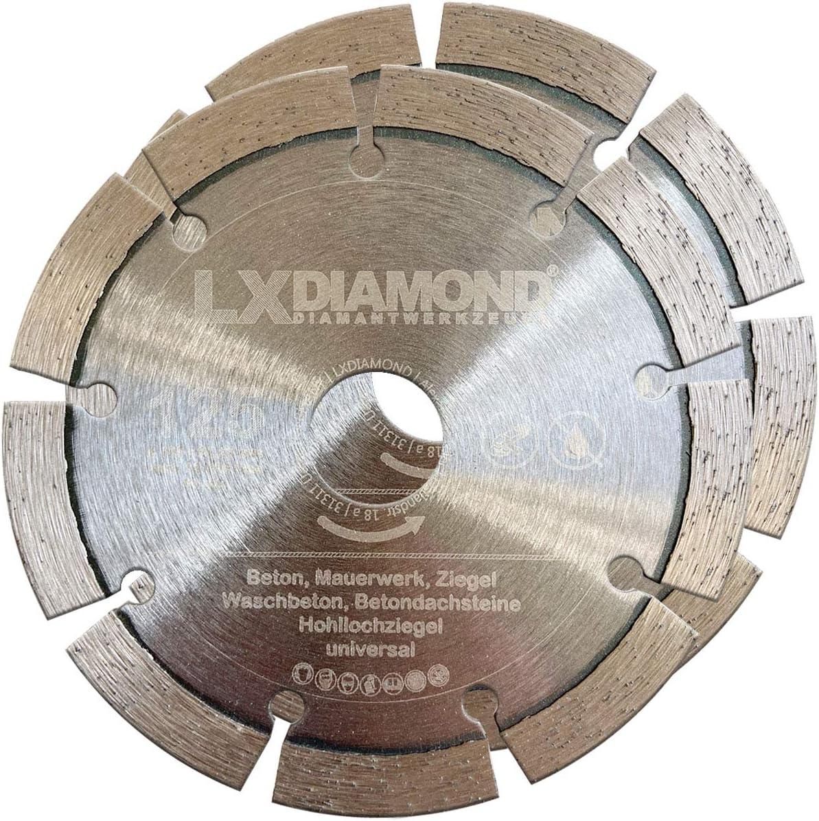LXDIAMOND 2x Diamant-Trennscheibe /Ø 125mm x 22,23mm Beton Stein passend f/ür Diamantfr/äse Schlitzfr/äse Mauernutfr/äse Mauerschlitzfr/äse Wandfr/äse Diamantscheibe 125 mm