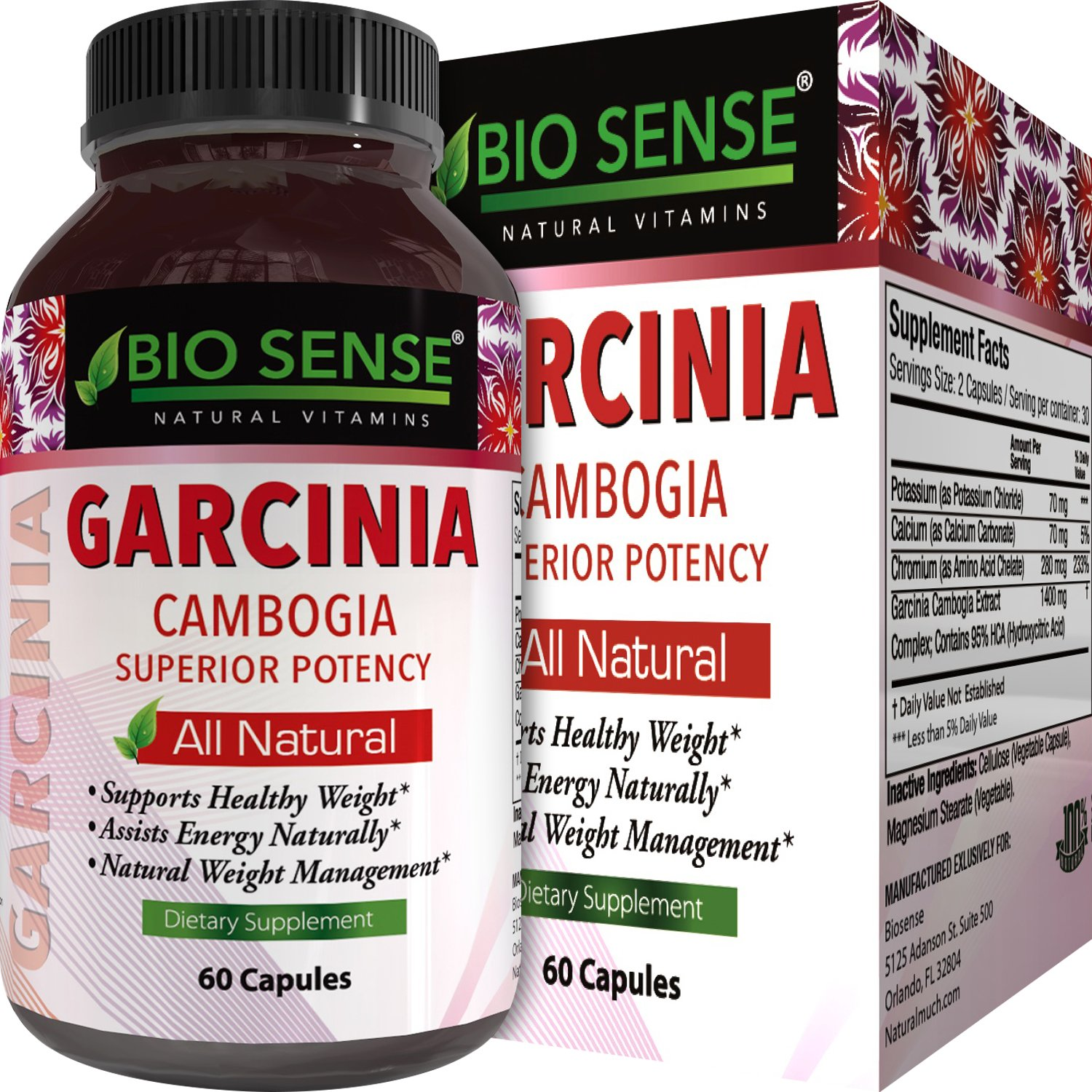 Garcinia Cambogia Weight Loss Supplement 95% HCA Diet Pills for Men and Women Natural Fat Burner Carb Blocker Support Pure Appetite Suppressant Energy Booster Complex 60 Capsules by Bio Sense