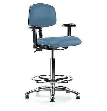 Perca cromo multi-task silla de oficina con respaldo de ruedas ajustable reposabrazos y Footring