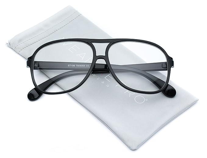 154f45b3a1 Amazon.com  WearMe Pro - Clear Large Aviator Nerd Non Prescription Glasses   Clothing