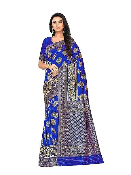 c8fb312a3f Shailaja Saree Women's Banarasi Handloom Weaving Silk Blue Color Saree With  Plain Running Blouse Piece: Amazon.in: Clothing & Accessories