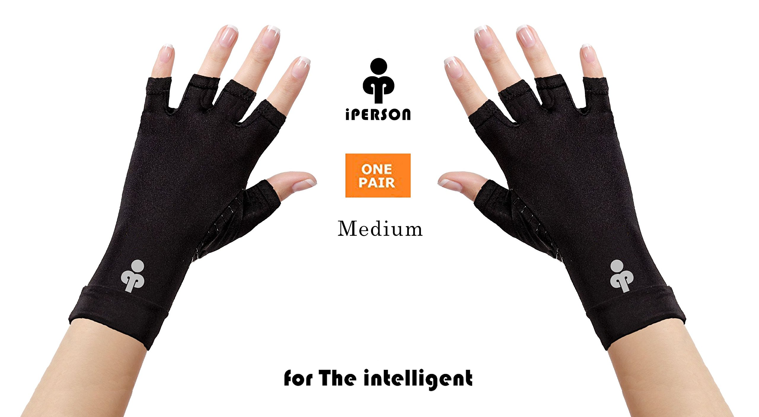iPerson® Arthritis Gloves Copper Infused Compression GUARANTEED To Speed Up Recovery Relieve Symptoms of Arthritis RSI Carpal Tunnel Tendonitis for Men & Women - 1 Pair (Medium)