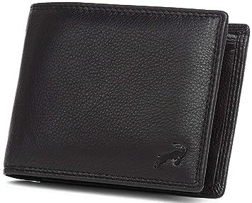 f24b805302c727 Hodalump Herren Leder Geldbörse mit RFID-Schutz Geldbeutel Schwarz ...