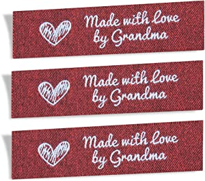 Wunderlabel Made with Love by Grandma Granny Granma Mix Thread Craft Art Fashion Woven Ribbon Ribbons Tag Clothing Sewing Sew Clothes Garment Fabric Material Embroidered, White on Red, 25 Labels