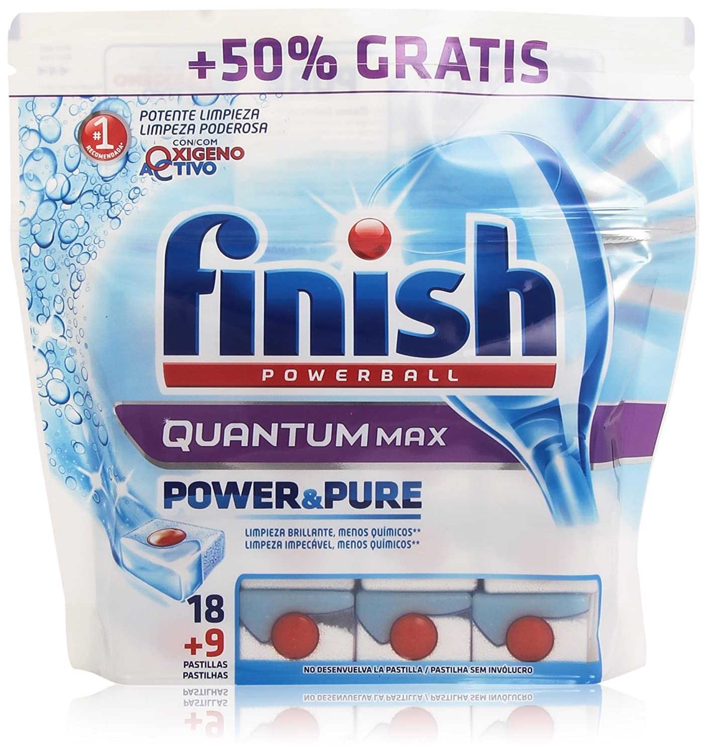 Finish Pastillas para lavavajillas Quantum Power&Pure Regular - 18 ...