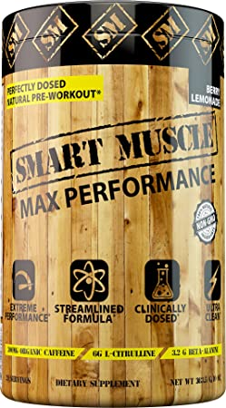 Smart Muscle MAX Performance – CLINICALLY DOSED Natural PREWORKOUT – NONGMO Powerhouse with PurCaf Organic Caffeine is The cleanest Most Effective Training Supplement Ever Made or Your Money Back.
