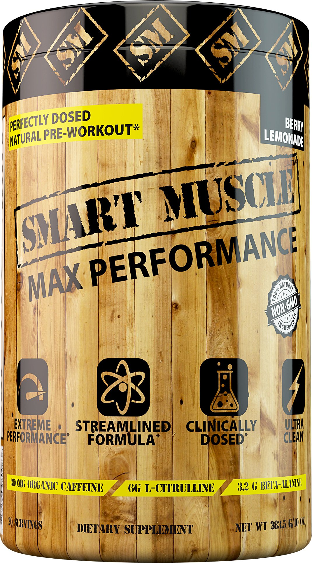 Smart Muscle MAX Performance - CLINICALLY DOSED Natural PREWORKOUT - NONGMO Powerhouse with PurCaf Organic Caffeine is The cleanest Most Effective Training Supplement Ever Made or Your Money Back.
