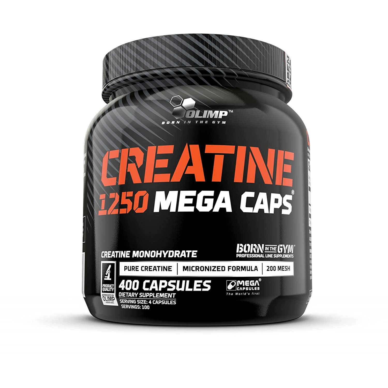 Olimp Creatine 1250 Mega Caps – Pack of 400 Capsules – 100 Servings – Mass Building Regeneration – Perfect for The Gym, Biking, or Running