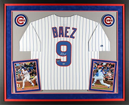 035511274de Javier Baez Chicago Cubs Deluxe Framed Autographed Majestic Replica White  Jersey - Fanatics Authentic Certified