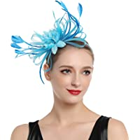 MissCynthia Fascinators Hat Tea Party Hair Clip Wedding Fancy Cocktail Sinamay Flower Feather Headband for Girls and…