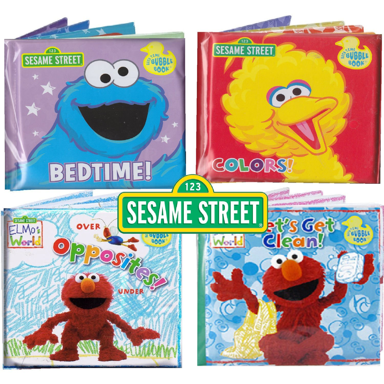 Charmant Amazon.com : Sesame Street® Bath Time Bubble Books Featuring The Elmo,  Grover, Big Bird, And Cookie Monster (Set Of 4) : Bathtub Toys : Baby