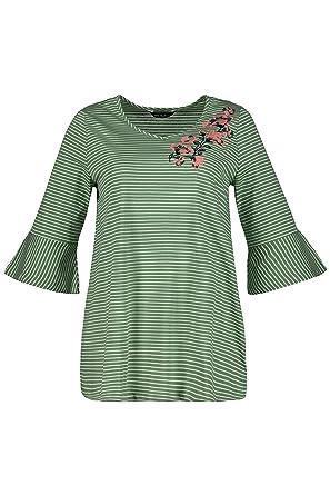 fe9ef03b Ulla Popken Women's Plus Size Tulip Sleeve Striped Tee Light Green Stripe  12/14 716210
