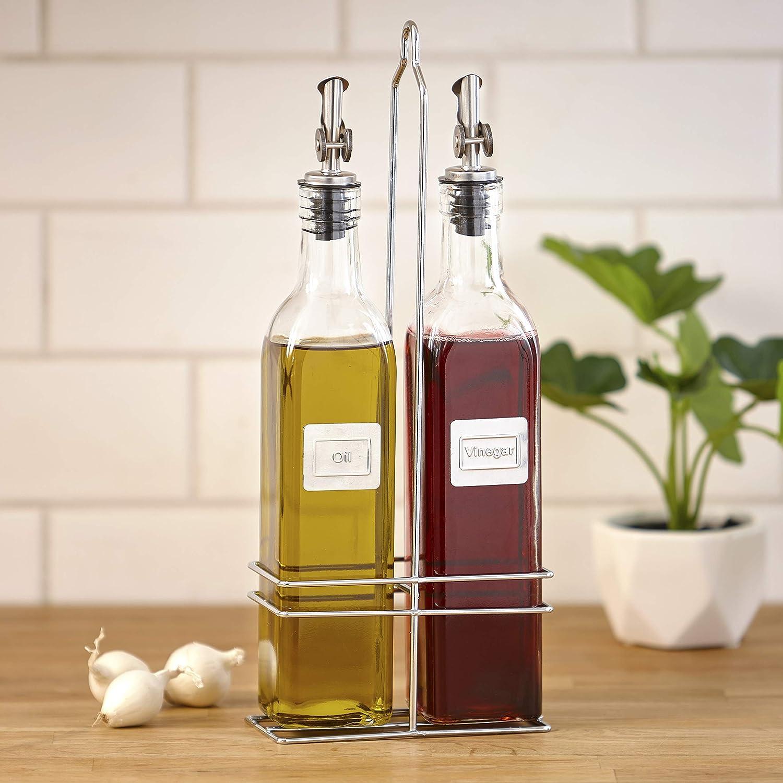 Oil And Vinegar Caddy Cruet Bottle Set With Metal Pour Spout 3 Pieces Kitchen Dining