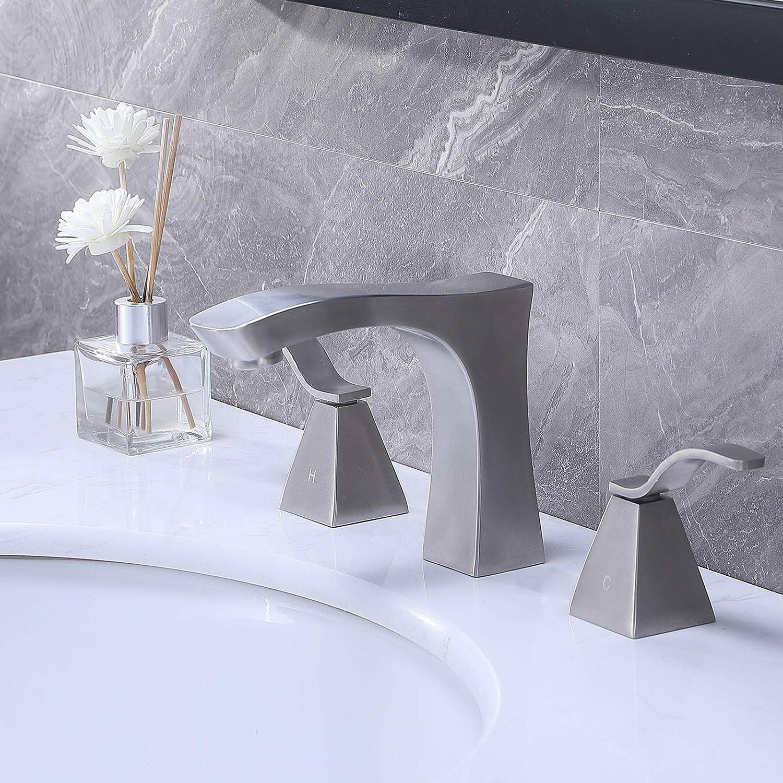 VESLA HOME Modern Solid Brass 2 Handles 3 Holes 8 Inchs Brushed Nickel Widespread Bathroom Faucet,Lavatory Bathroom Vanity Sink Faucet with Water Supply Lines.