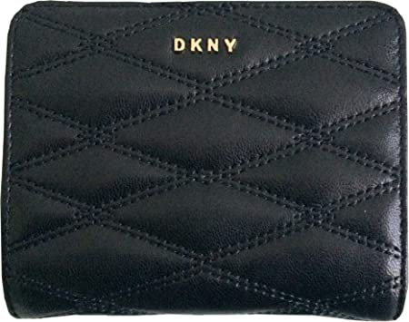 f2e3da651ae1 DKNY Small Quilted Leather Bifold Carryall Purse Wallet in Black ...