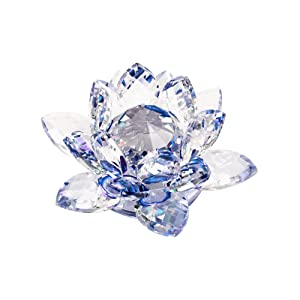 """KLOUD City 3.4"""" Outter Diametr Blue Crystal Lotus Flower with Gift Box for Feng Shui Home Decor Home Decoration"""