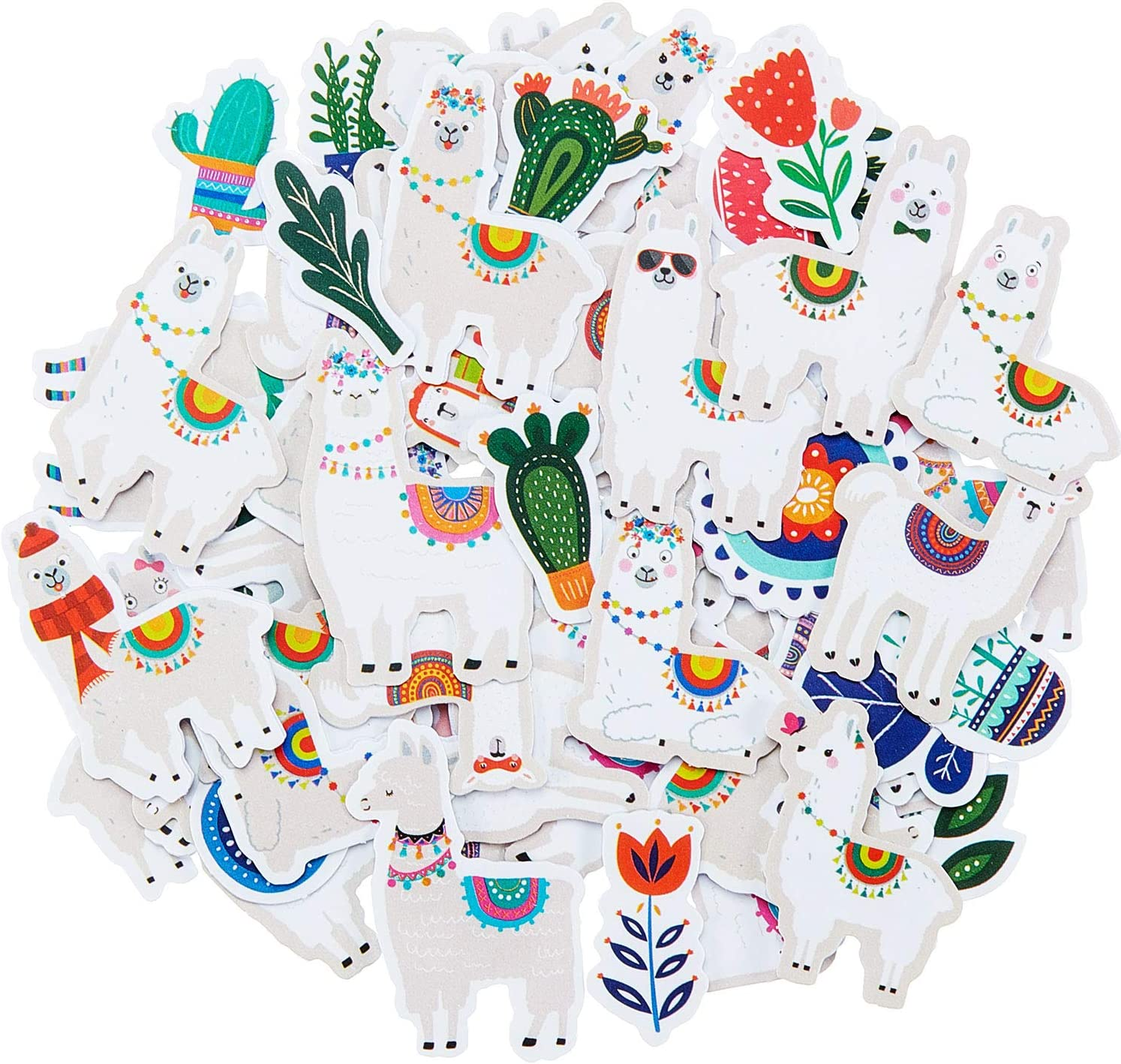 60 Sheets Cute Llama Stickers Waterproof Llama Animal Party Stickers Colorful Cactus Llama Stickers for Scrapbook Journal Bottle Laptop