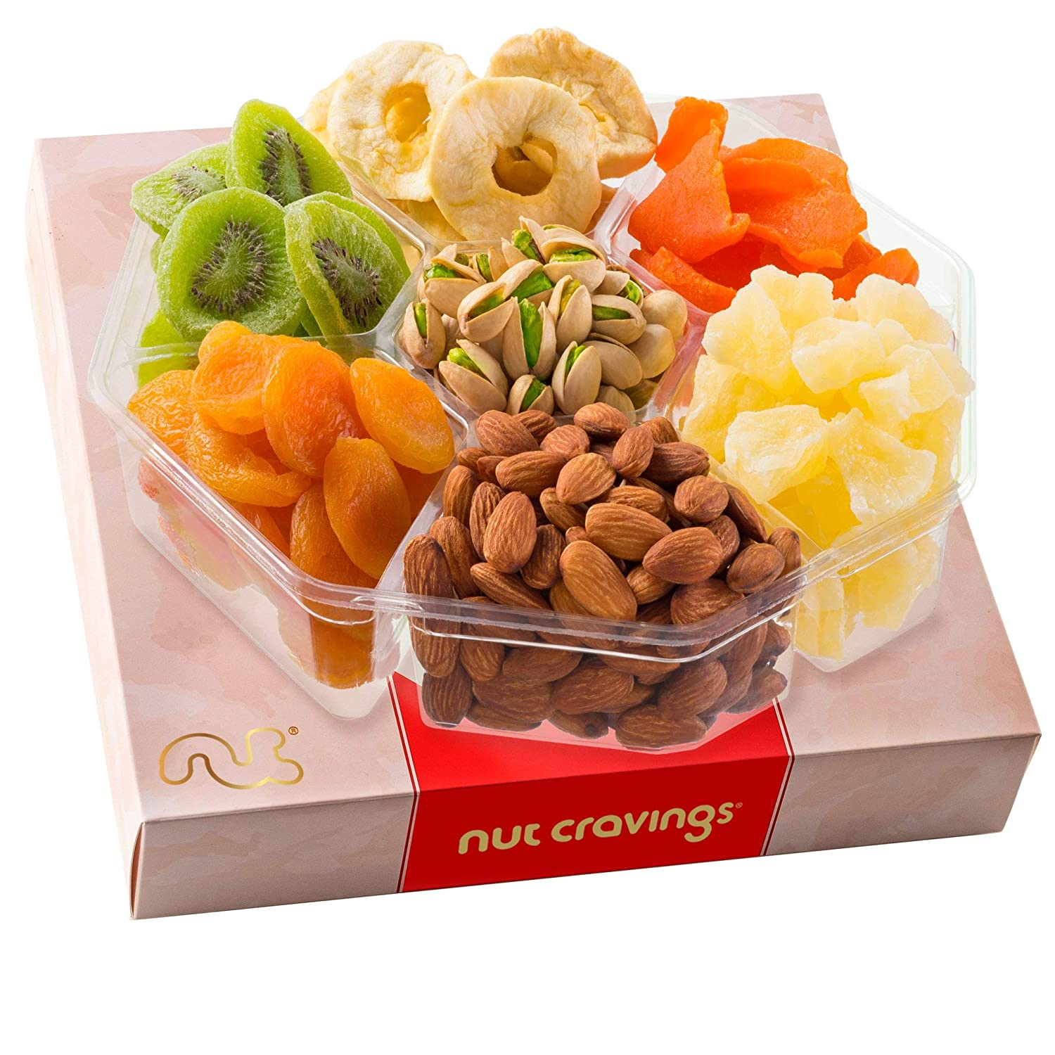 Gourmet Dried Fruit & Nut Gift Basket, Red Box (XL Tray 7 Mix) - Easter Food Arrangement Platter, Care Package Variety, Prime Birthday Assortment, Healthy Kosher Snack Tray for Women, Men, Adults