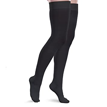 5ceab9a2a5e Image Unavailable. Image not available for. Color  Core-Spun 15-20mmHg Mild  Graduated Compression Support Thigh High Socks (Black